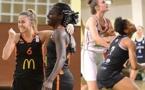 La joie d'Yvanna ENJOLY (avec AnneLise MIPOKA), les 20 points de Monique MAKANI (malgré une excellente Elisé DEVULDER) : Bourges et Lyon sont en finale