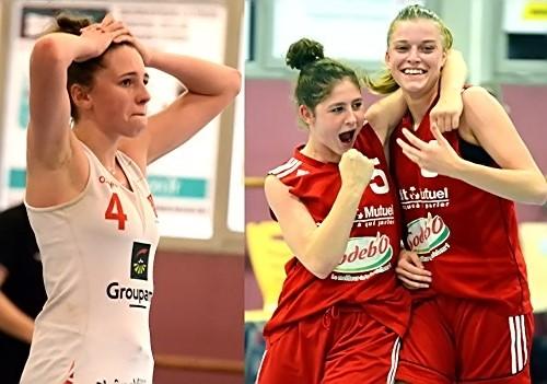 Camille DROGUET (à gauche) réalise que la victoire vient de s'échapper. De leur côté, Meg PEDROSO et Léa BERTHE savourent ensemble la leur face à Angers